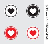 heart icon vector black and red ... | Shutterstock .eps vector #282954371