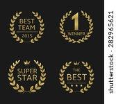 golden awards laurel wreaths ... | Shutterstock .eps vector #282965621
