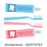 toothbrush and toothpaste... | Shutterstock .eps vector #282974765