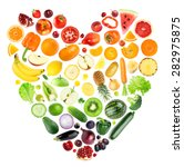 rainbow heart of fruits and... | Shutterstock . vector #282975875