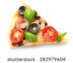 slice of tasty pizza with... | Shutterstock . vector #282979604