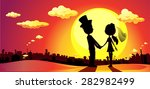 wedding silhouette in sunset  ...   Shutterstock .eps vector #282982499
