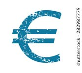 grunge blue icon with euro...