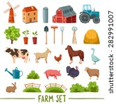 Farm Multicolored Icon Set Wit...