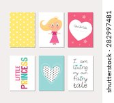 set of cute creative cards with ... | Shutterstock .eps vector #282997481