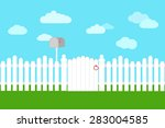 White Fence And Gate