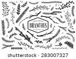 set of hand drawn branches. ink ... | Shutterstock .eps vector #283007327
