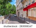narrow cobblestone street among ... | Shutterstock . vector #283008167