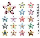 set of stars made of ribbons... | Shutterstock .eps vector #283014149