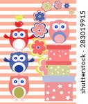 background with flower  owls... | Shutterstock .eps vector #283019915
