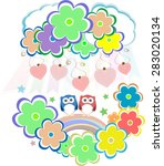 cute valentine owls  birds ... | Shutterstock .eps vector #283020134