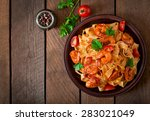 fettuccine pasta with shrimp ... | Shutterstock . vector #283021049