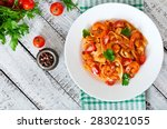 fettuccine pasta with shrimp ... | Shutterstock . vector #283021055