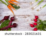 vegetables on old white desk ... | Shutterstock . vector #283021631
