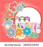 background with owl and flowers....   Shutterstock .eps vector #283022444