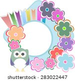 retro flowers and owl kids... | Shutterstock .eps vector #283022447