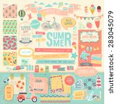 summer scrapbook set  ... | Shutterstock .eps vector #283045079