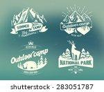 set outdoor camp typography... | Shutterstock .eps vector #283051787