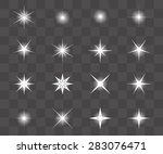 set of vector glowing light... | Shutterstock .eps vector #283076471
