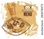 hand drawn sketch restaurant...   Shutterstock .eps vector #283078475