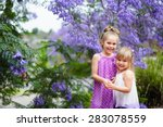 two little sister love and have ... | Shutterstock . vector #283078559