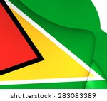 3d flag of the guyana. close up.