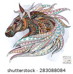 Stock vector patterned head of the horse on the grunge background african indian totem tattoo design it 283088084