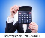 nerd female accountant with... | Shutterstock . vector #283098011