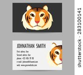 business card set with tiger 4... | Shutterstock .eps vector #283100141