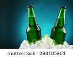 Glass Bottles Of Beer In Ice...