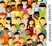 Seamless pattern social concept of people communication in flat style