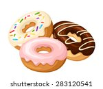 three donuts with glaze and... | Shutterstock .eps vector #283120541