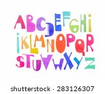 hand drawing font in watercolor ... | Shutterstock . vector #283126307