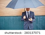 happy young businessman with... | Shutterstock . vector #283137071
