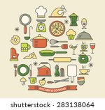 cooking foods and kitchen color ... | Shutterstock .eps vector #283138064