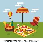 summer picnic. invitation... | Shutterstock .eps vector #283141061