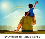 cute little son sitting on his... | Shutterstock .eps vector #283142759