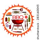 bbq round background with... | Shutterstock .eps vector #283160045