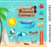 set of realistic summer icons... | Shutterstock .eps vector #283163981