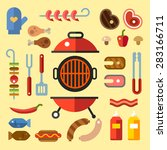 bbq party. set for a picnic.... | Shutterstock .eps vector #283166711