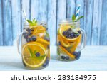 orange blueberry detox water on ... | Shutterstock . vector #283184975