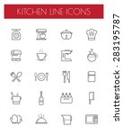 kitchen tools line icon sets | Shutterstock .eps vector #283195787