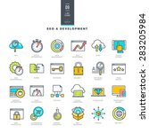 set of line modern color icons...