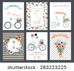 collection of 6 cute card... | Shutterstock .eps vector #283223225