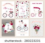 Collection of 6 cute card templates. Wedding, marriage, save the date, baby shower, bridal, birthday, Valentine's day. Stylish simple design. Vector illustration. | Shutterstock vector #283223231