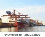commercial ship loading... | Shutterstock . vector #283233809