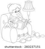 granny reading | Shutterstock .eps vector #283237151