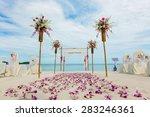 flower setting on the beach | Shutterstock . vector #283246361
