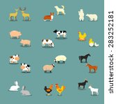 farm animals and pets | Shutterstock .eps vector #283252181
