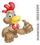 a cartoon chicken mascot giving ...   Shutterstock .eps vector #283253549